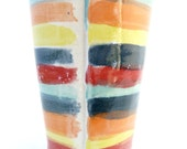 Handbuilt Red, Blue, Orange, and Yellow Striped Ceramic Tumbler, Drinkware, Barware, Striped Ceramcis, Slab Built, OOAK Cup, Striped Cup