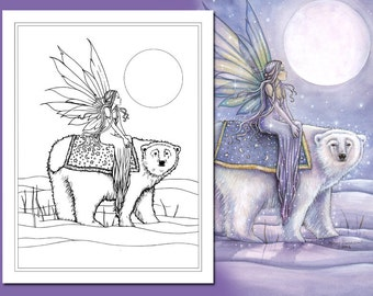 Kit and Clowder RESERVED listing - Moonlit Solstice - Fairy and Polarbear - Printable - Adult Coloring Page - Molly Harrison Fantasy Art