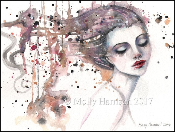 Original Watercolor Painting - Content - Contemporary Fantasy Watercolor Face of Woman - Molly Harrison Fantasy Art