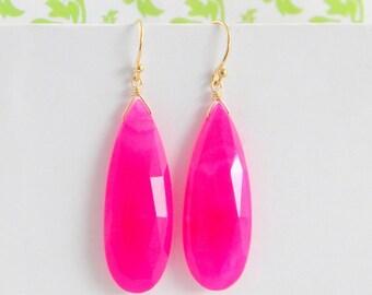 Long Faceted Hot Pink Chalcedony Teardrop Earrings