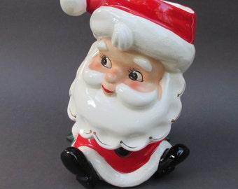Vintage Santa Planter Parma AAI Japan Glazed Ceramic Pottery 7 Inch Christmas Holiday Decoration