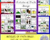 Articles of Faith Bingo Set of 12
