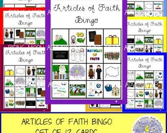 Articles of Faith Bingo Game Set of 12