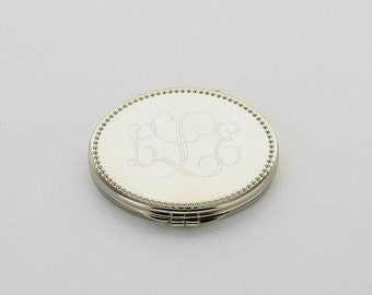 Engraved Monogram Compact Mirror | Personalized Oval Compact Mirror | Beaded Engraved Compact Mirror | Personalized Christmas Gift for Women