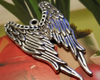 Angel Wing Charms - 5pcs. - Goth Angel Wings - Silver Wings Charm - Double Wings Charm  -  Silver Angel Wings  -  Silver Wing Pendant