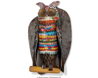 The Path at Night Colorful Metal Owl Sculpture
