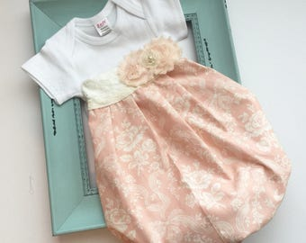 Shabby chic baby GOWN... pearls and cream lace--new baby