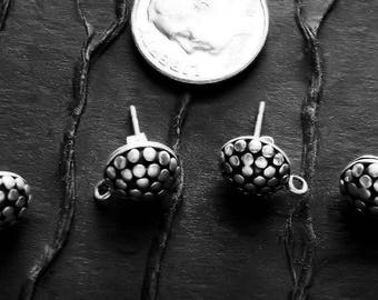 2 Pair BALI STERLING SILVER  Earrings  -  Post-Style  -  9mm Round  x 14mm with Long Post