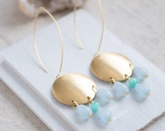 Blue Beaded Chandelier Earrings, Chandeliers Earrings