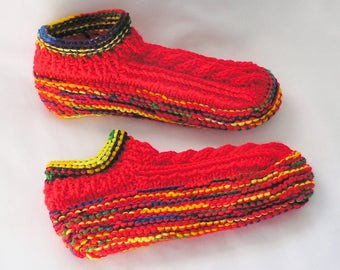Womens Red Slippers, Bright Red Handknitted Socks Bright Rainbow Colors Low Cuff Booties, Size 8 - 8.5