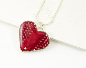 Red Circuit Board Heart Necklace - Recycled Circuit Board Jewelry - Valentines Day Gift - Nerdy Heart Jewelry