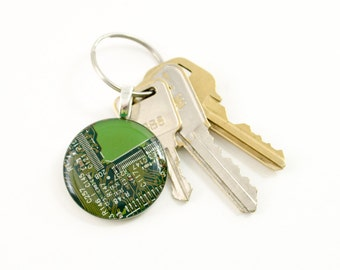 Circuit Board Keychain Green, Circuit Board Jewelry, Engineer Gift, Motherboard Jewelry, Recycled Computer Key Fob, Wearable Technology