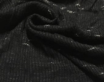 Jersey Knit Fabric Ribbed Speckled Pattern 2-3/4 Yards