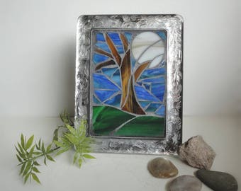 "Stained Glass Mosaic Art, Sculpture, Home Decor, Full Moon, Forest, Woods, Night Sky, Nature Scene, Stand Up Glass Frame ""Moonlit Forest"""