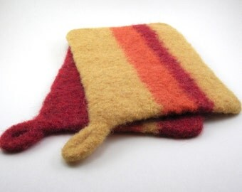 Wool felted pot holders - felted hot pads - striped potholder set - scarlet, yellow and orange