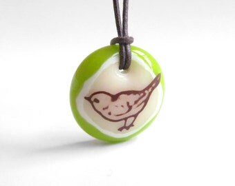 Song Bird Necklace - Various Colors - Nature Jewelry, Bird Pendant
