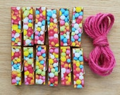 Confetti Gumball Sprinkles Chunky Little Clothespin Clips w Twine for Display -  Set of 12 - Girl Birthday Celebration