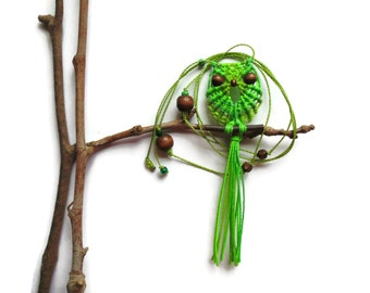 Shades of Green Macrame Owl Necklace, Micro Macrame Jewelry, Hoot Pendant, Woman Necklace, Green Owl, Cute Necklace, Halloween Gift Under 20
