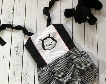 Black and White Gingham Romper with Figaro Print for Toddler Girl