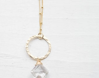 Crystal Quartz Gemstone Necklace Pentagon Stone Pendant Hammered Gold Circle