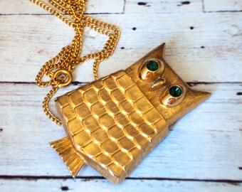 CUTEST Repurposed OWL Solid Perfume Locket AVON  Long Necklace Boho Chic Poison Secret Keeper Emerald Green Eyes Keepsake Modernist 1960s