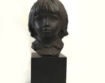 Head Of Coco Cast Bust, After Pierre Auguste Renoir Sculpture, Vintage 1958 Alva Studios Museum Replica Statue