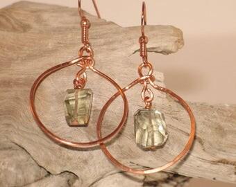 Hammered Copper & Green Amethyst Earrings