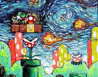 Nintendo Yoshi CANVAS Art - Video Game Art Super Mario print van Gogh Never Met Yoshi Aja 8x8, 10x10, 12x12, 16x16, 20x20, 24x24, 30x30