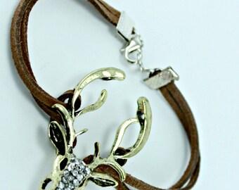 Vintage Brass Deer Elk Suede Bracelet Custom Length