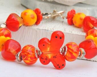 ORANGE RED WINGS Handmade Lampwork Bead Bracelet