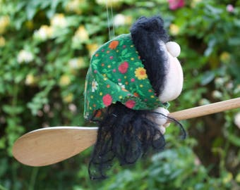 Bernice the Kitchen Witch - Kitchen Witch Doll - Herb Witch - Green Witch - Good luck doll for your kitchen!