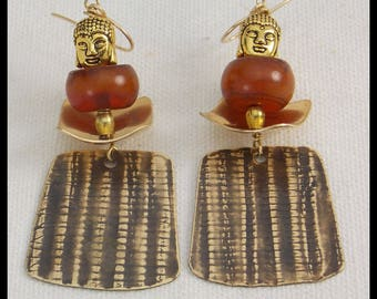 BAMBOO - Handforged Bronze - Amber Resin - Golden Buddhas - Long Statement Earrings