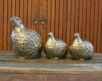 Vintage Brass Quail Family - Set of Three - Large - Royal Hill Vintage