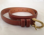 Vintage LL BEAN Supple Leather Belt Size 26 Tan Brown Freeport Maine USA