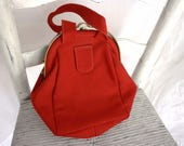 Ingber 1940s Womens Vintage Red Wool Felted Fabric Body Purse Evening Hand Bag Metal Frame