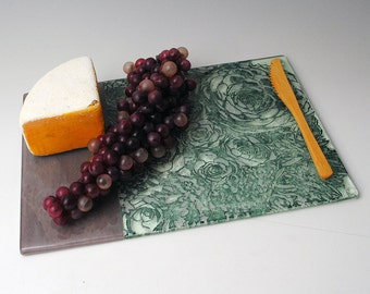 Succulent Flat Serving Dish, Fused Glass Cheese Platter, Glass Serving Tray