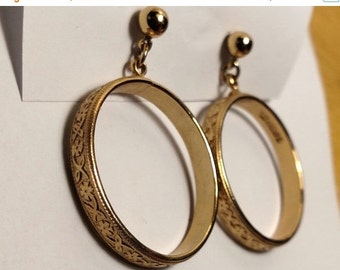 Winter Sale Long Vintage Gold Wedding Band Doorknocker Textured Pierced Post Front Open Ring Circle Drop Earrings Signed Sarah Coventry