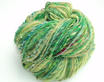 Clover Patch, Handspun, Hand Spun, Hand Dyed, Art, Yarn, Green