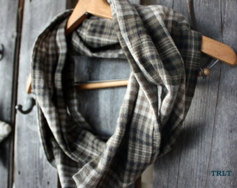 Green, Brown & Cream Plaid Flannel Infinity Scarf