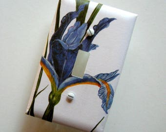 Blue Iris Graphic Single Switch Plate - switch cover, wall plate, flower switch plate, floral, botanical home décor, Nature inspired, modern