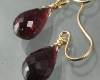 FINAL SALE - Pink Tourmaline Dangle Earrings
