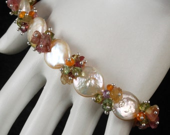 FINAL SALE - Peach Coin Pearl Tourmaline Nugget Peridot Vesuvianite Sterling Silver Bracelet - 8""