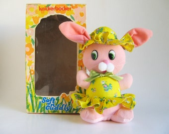 Vintage 1974 KNICKERBOCKER Soft n Cuddly Stuffed Pink Bunny Rabbit in Original Box 1970s Toy Animals of Distinction