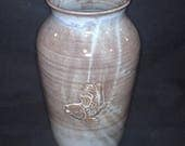 RESERVED  large vase in blue and brown, stoneware pottery