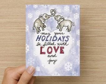Elephant Love and Joy Recycled Paper Folded Holiday Card - Proceeds Go to Charity!