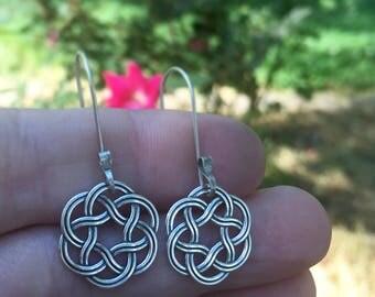 Sterling Silver Celtic Wreath Knot Earrings Outlander Inspired Jewelry Knots Christmas Gift Heart Valentine Infinity Eternity Irish Jamie