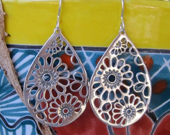 Sterling silver Floral Teardrop earrings- Large drop earrings