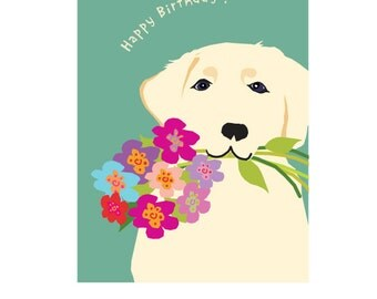 custom white lab birthday greeting card