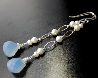 Blue Teardrop Earrings, Long Pearl Drop Earrings, Chalcedony Drops, Sterling Silver