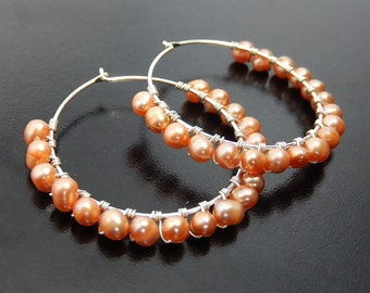Beaded Pearl Hoop Earrings, Peach Earrings Apricot Bridal Earrings, Beaded Wire Wrapped Wedding Jewelry, Sterling Silver